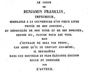 Epitaphe Benjamin Franklin