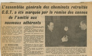 Article sur les cannes des cheminots retraités en 1964