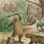 orang-outang se défendant avec un bâton