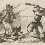 soldat utilisant son fusil comme un bâton 1861