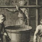 ouvrier chamoiseur qui dégraisse à la bille