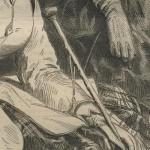 Détail de canne de femme à la chasse