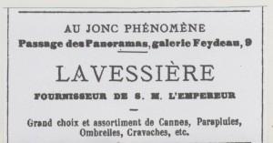 Publicité Lavessière Au jonc phénomène 1862
