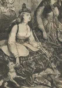 canne de femme à la chasse