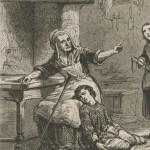 vieille femme avec son bâton et son fils