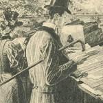 homme lisant à la canne