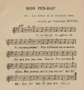 Premier couplet de Mon Pen-bas par Botrel