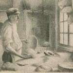 Pesée de la pâte et sas (à droite)