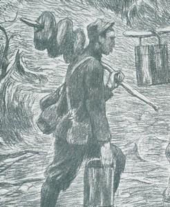 Soldat ravitaillant avec des pains sur un bâton