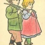 Enfants portant des bâtons
