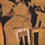 Le sceptre de Zeus sur un cratère - musée du Louvre