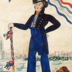 Compagnon charpentier et sa canne de rouleur vers 1830
