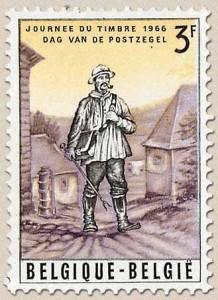 Bâton ou canne de facteur sur timbre-poste belge de 1966