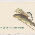 Carte de poisson avec une canne