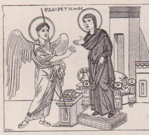Ange de l'Annonciation miniature IXe s