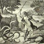 Tirésias frappant les serpents de son bâton