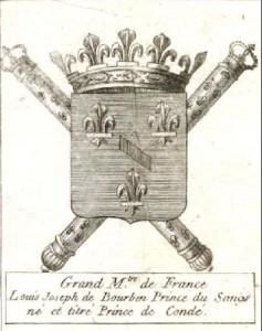 Armoiries du Grand Maître de France Louis de Bourbon Prince de Condé