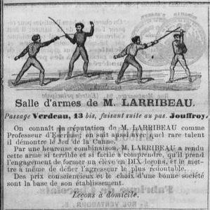 Publicité salle d'armes Larribeau 1854